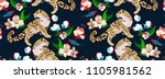 jaguar with flowers on navy... | Shutterstock .eps vector #1105981562