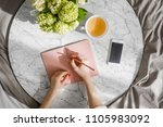 from above photo of hands of... | Shutterstock . vector #1105983092