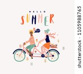 summer tandem bike with couple... | Shutterstock .eps vector #1105988765