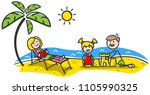 happy family at the beach.... | Shutterstock .eps vector #1105990325
