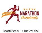 running and marathon logo vector | Shutterstock .eps vector #1105991522