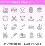 sewing thin line icons set.... | Shutterstock .eps vector #1105997285