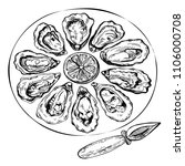 hand drawn sketch oyster set.... | Shutterstock .eps vector #1106000708