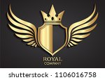 3d golden winged shield with... | Shutterstock .eps vector #1106016758