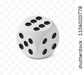 One isometric craps game dice, matte photo realistic material, 3d render with soft shadows and reflections, vector rounded cube illustration isolated on white transparent background - stock vector