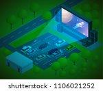 open air cinema concept.... | Shutterstock .eps vector #1106021252