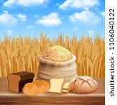 bread assortment background | Shutterstock .eps vector #1106040122