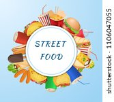 a set of varied street food and ... | Shutterstock .eps vector #1106047055