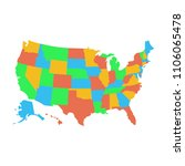 all states map. simple black... | Shutterstock .eps vector #1106065478