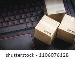 online shopping concept e... | Shutterstock . vector #1106076128