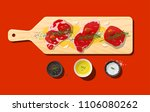 raw prime beef steaks  rib eye  ... | Shutterstock .eps vector #1106080262