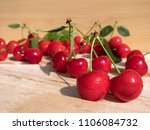 fresh cherry group with leaves... | Shutterstock . vector #1106084732