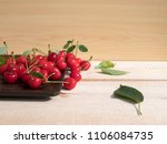 fresh cherry group with leaves... | Shutterstock . vector #1106084735