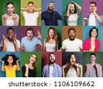 collage of happy emotional... | Shutterstock . vector #1106109662