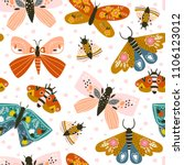 Stock vector hand drawn butterflies colored vector seamless pattern 1106123012