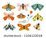 hand drawn moth and butterflies.... | Shutterstock .eps vector #1106123018