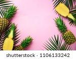 half slice of fresh pineapple... | Shutterstock . vector #1106133242