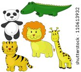 set of cute animals  drawing... | Shutterstock .eps vector #110613932