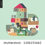 simple things   houses   flat... | Shutterstock .eps vector #1106151662