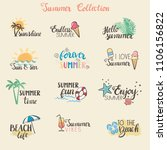 colorful summer stickers... | Shutterstock .eps vector #1106156822