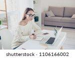 portrait of busy smart teacher... | Shutterstock . vector #1106166002