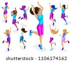 isometric of a big girl athlete ... | Shutterstock .eps vector #1106174162