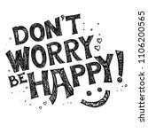 don't worry be happy postcard.... | Shutterstock .eps vector #1106200565