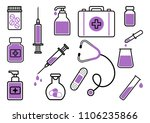 medicine. set of black and... | Shutterstock .eps vector #1106235866