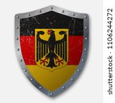 old shield with flag of germany.... | Shutterstock .eps vector #1106244272