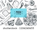 italian pizza cooking and... | Shutterstock .eps vector #1106260655
