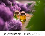 bottle of aroma oil with rose  | Shutterstock . vector #1106261132