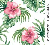 tropical vintage pink hibiscus... | Shutterstock .eps vector #1106268302