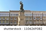 Small photo of Statue of the heroine Maria Pita, in the square that has her name Coruna, Galicia, Spain 09/04/2015
