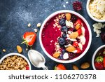 smoothie bowl from fresh... | Shutterstock . vector #1106270378