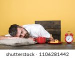 tired man sleeping at home... | Shutterstock . vector #1106281442