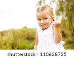 little girl don't know outdoor | Shutterstock . vector #110628725