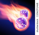 two blue dices in fire | Shutterstock .eps vector #1106291468