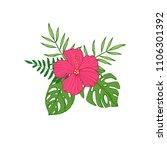 tropical flowers   hibiscus ... | Shutterstock . vector #1106301392