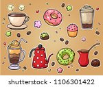 hand drawn coffee and sweets... | Shutterstock . vector #1106301422