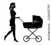 Vector Young Woman With Pram