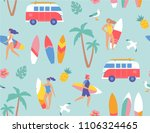 seamless pattern. young surfers ... | Shutterstock .eps vector #1106324465