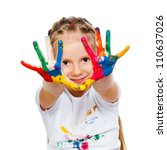 little girl with hands in paint ... | Shutterstock . vector #110637026