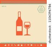 bottle of wine and wineglass... | Shutterstock .eps vector #1106396786
