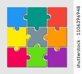 9 multicolor puzzle pieces  ... | Shutterstock .eps vector #1106396948