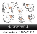diagram of cutting meat. set of ... | Shutterstock .eps vector #1106401112