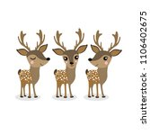 cute deer cartoon vector set.... | Shutterstock .eps vector #1106402675