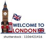 welome to london landmarks... | Shutterstock .eps vector #1106421416