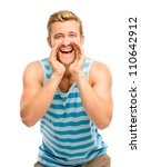 Attractive young man shouting - isolated on white background - stock photo