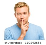 sexy man with finger on lips keeping a secret - stock photo