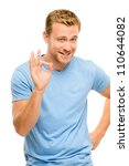 Happy man giving okay sign - portrait on white background - stock photo